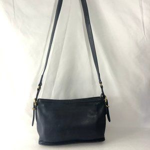 Vintage Coach Navy Blue Leather Crossbody Bag